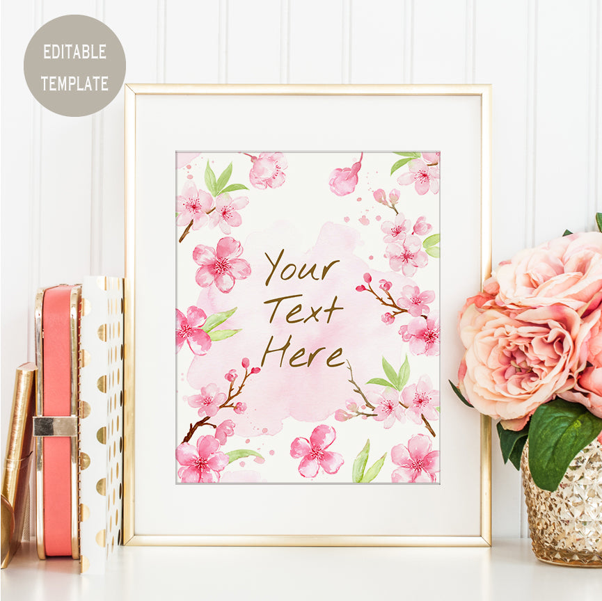 editable template, watercolor cherry blossom frame, custom typography, Templett, custom print, spring print