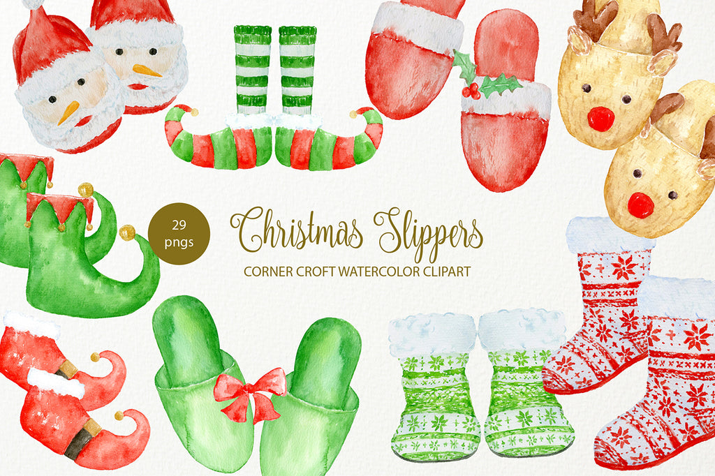 hand painted christmas slippers instant download