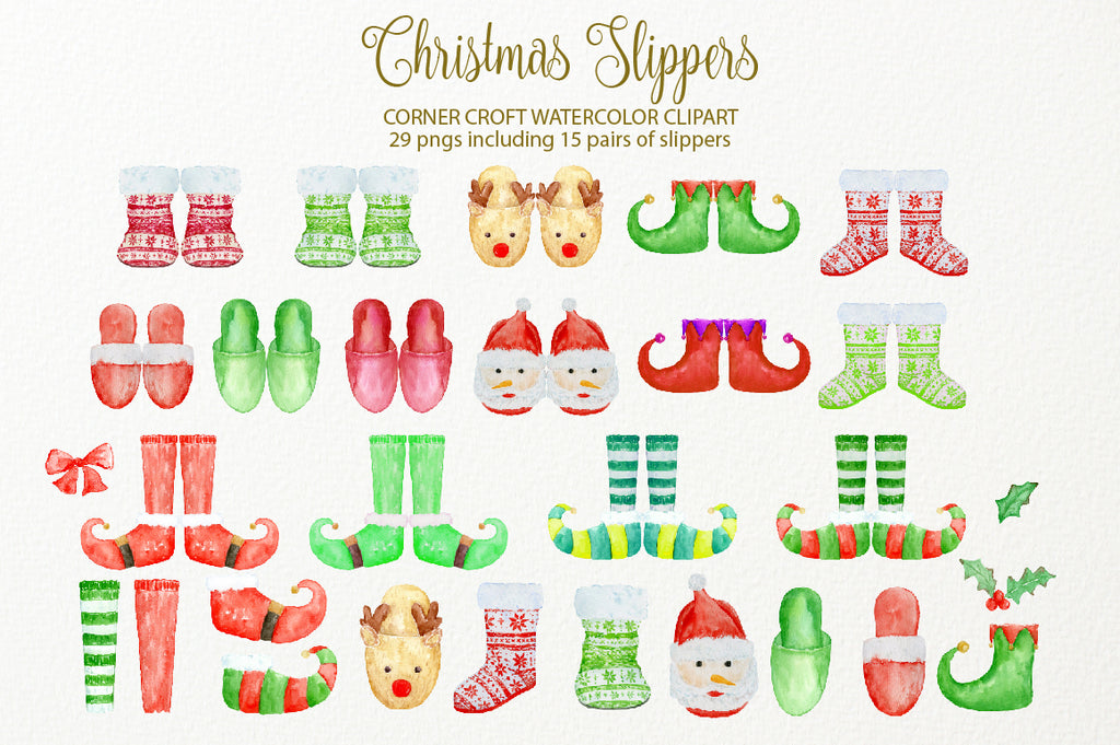 watercolor red slippers, elf slippers, santa slippers, knitted slippers, digital file