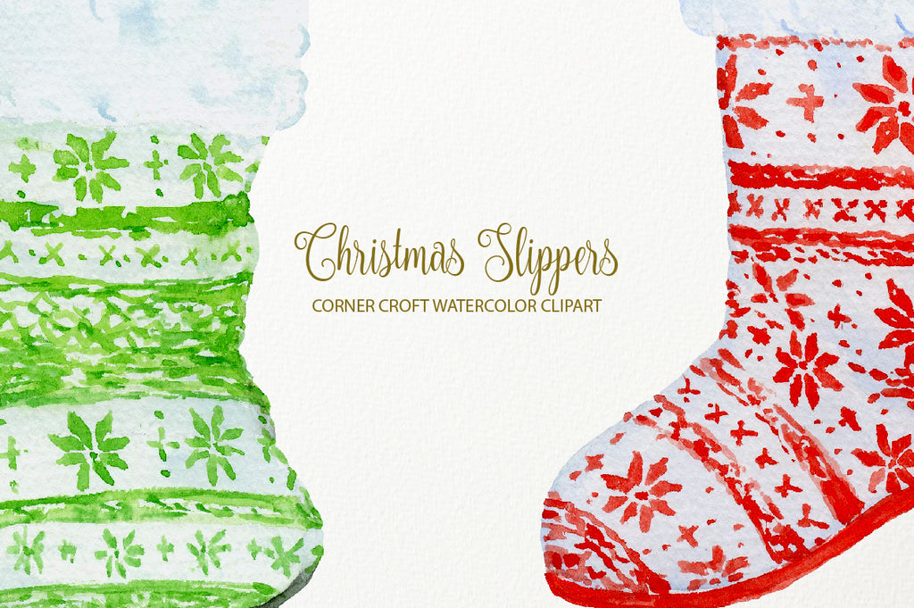 watercolor christmas slippers for making personalised prints