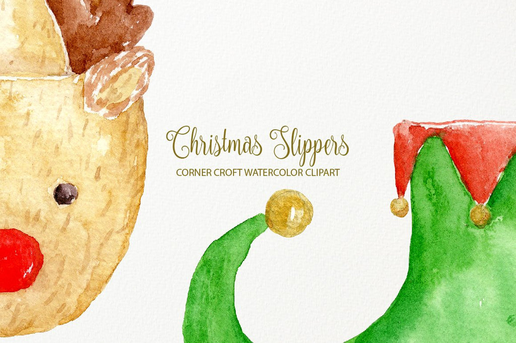 hand painted christmas slipper illustration for greeting cards