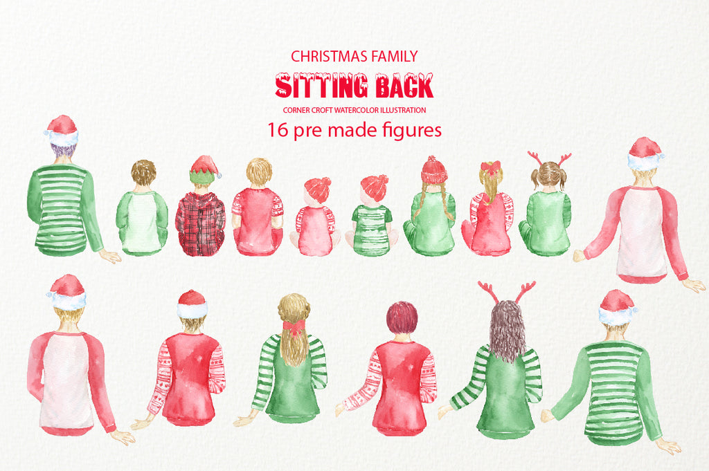 People sitting down in christmas outfit, digital download, product by Corner Croft