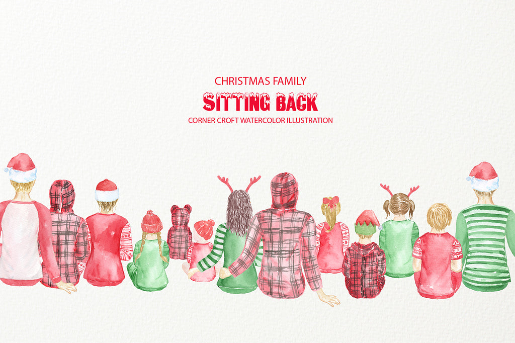 Christmas Family Sitting Down, back of family in pajamas instant download