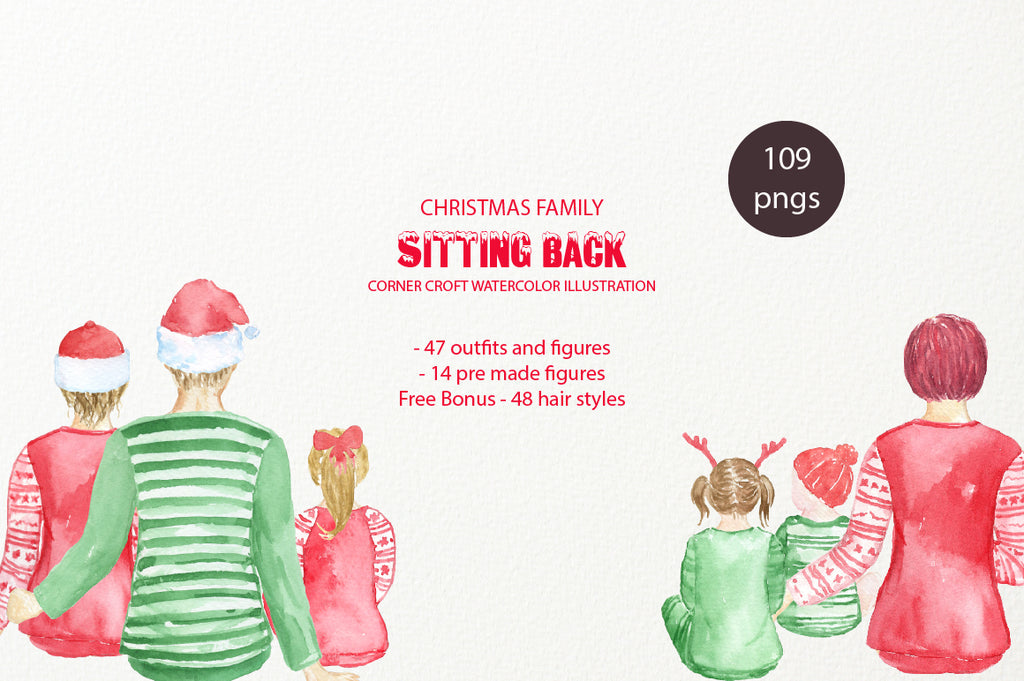 Christmas Figures Sit down, Mum, Dad, Son, Daughter and Baby figures instant download