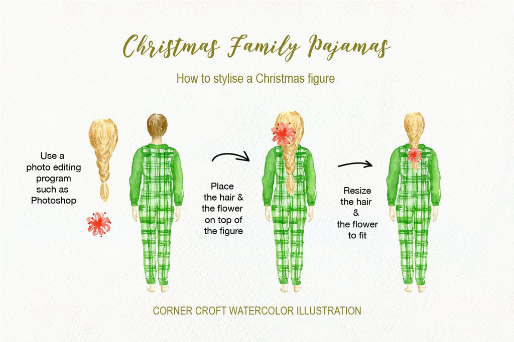 back of people, people in christmas pyjamas, personalised print.