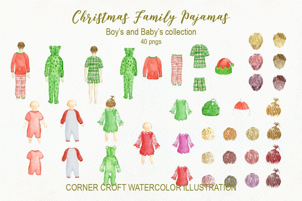 boy in christmas pajamas, watercolor illustration, baby boy and baby girl in christmas pajamas
