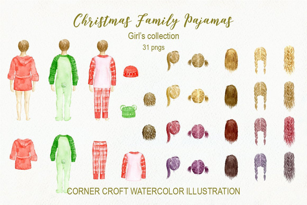 watercolor Christmas pajamas illustration, girl in Christmas cloth, many different hair styles