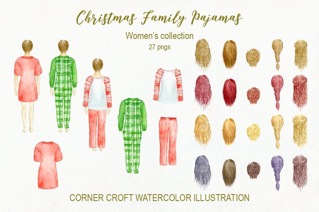 Watercolor illustration of woman back with different hair style, christmas clipart for instant download