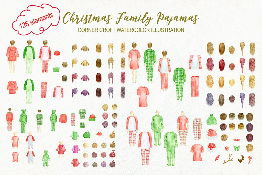 Christmas pajamas clipart, people in christmas pajamas, instant download for making personalised print