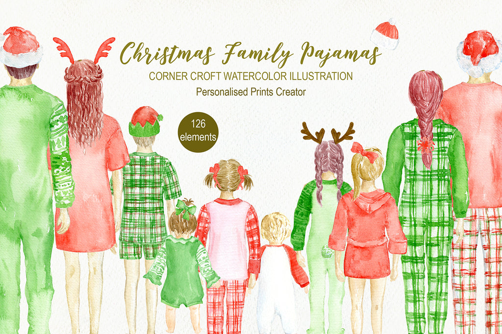 Christmas Family illustration, figure with christmas pajamas, you can change hair style
