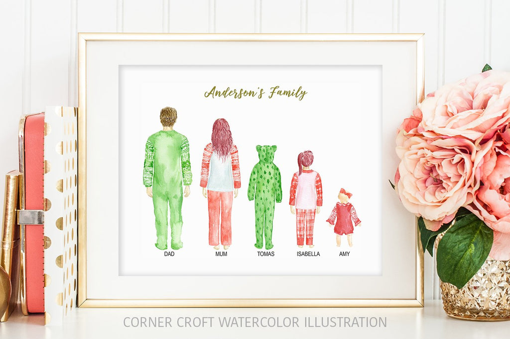 Personalised print creator, family in Christmas pajamas, different hair style