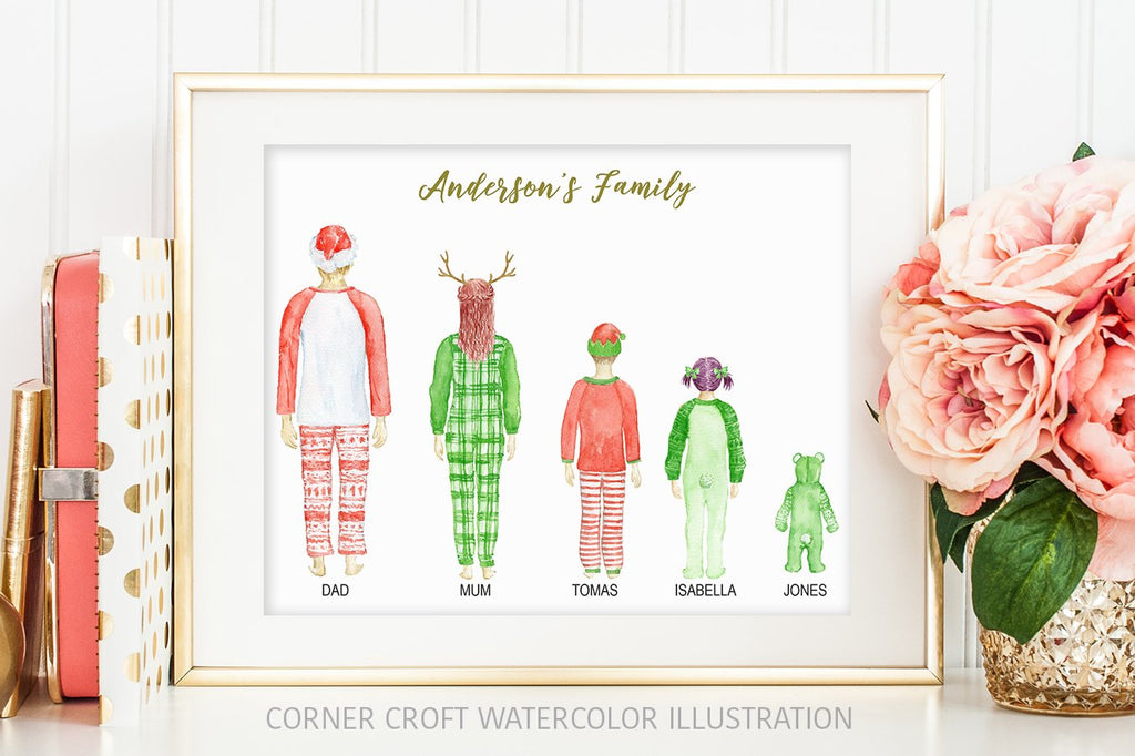 watercolor christmas family portrait in Christmas pajamas, personalised print creator