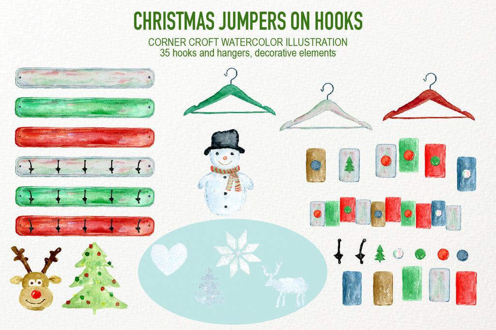 Watercolor hooks and hangers, Christmas hooks, hook rack, instant download