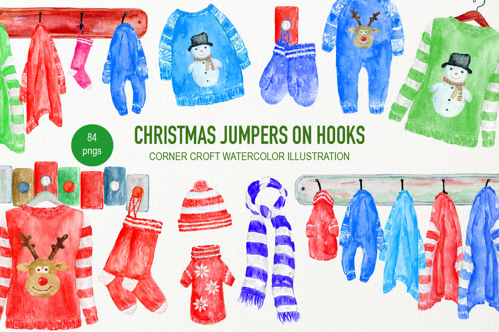 Christmas jumpers on hooks, jumper, mitten, baby suit, scarf, jumper on hook, coat hanger illustration