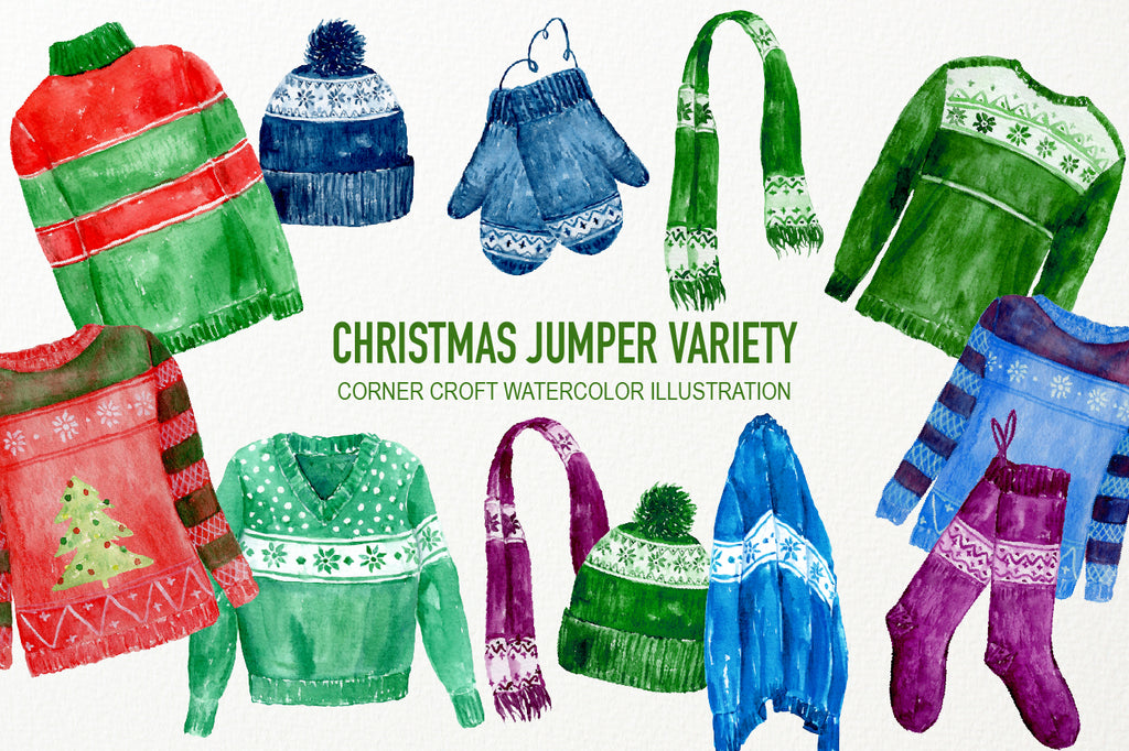 watercolor  clipart Christmas jumpers, scarf, mitten, wooly hat and Christmas stockings.