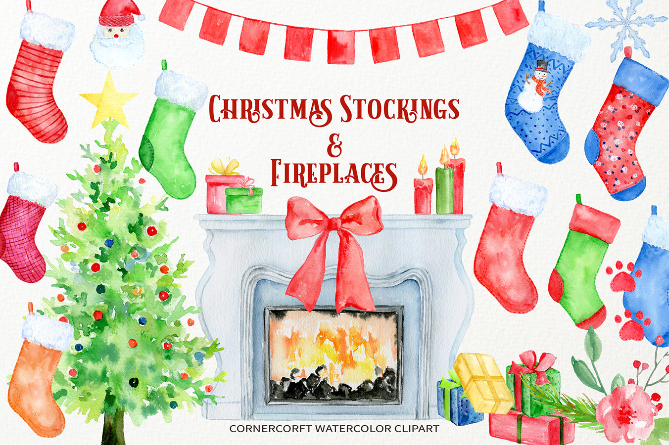 Christmas Stocking Clipart.Watercolor Clipart Christmas Stockings And Fireplace Instant