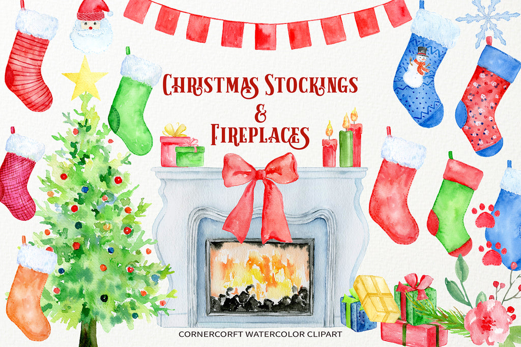 watercolor clipart Christmas stocking, fireplace and christmas tree, for personalised print