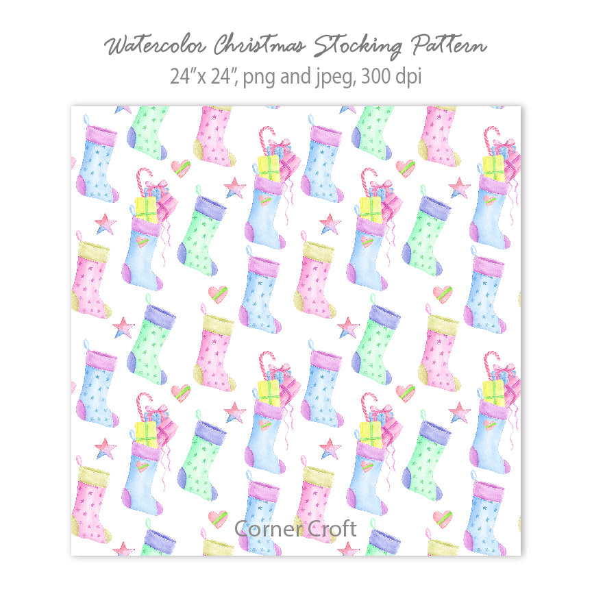 Watercolor Christmas Stocking Pattern in Pastel Color