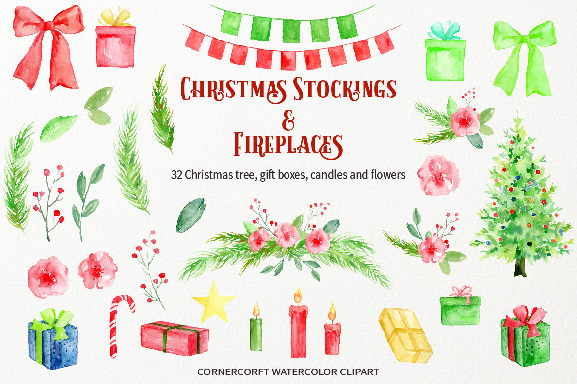 Watercolor Clipart Christmas Stockings and Fireplace Instant ...