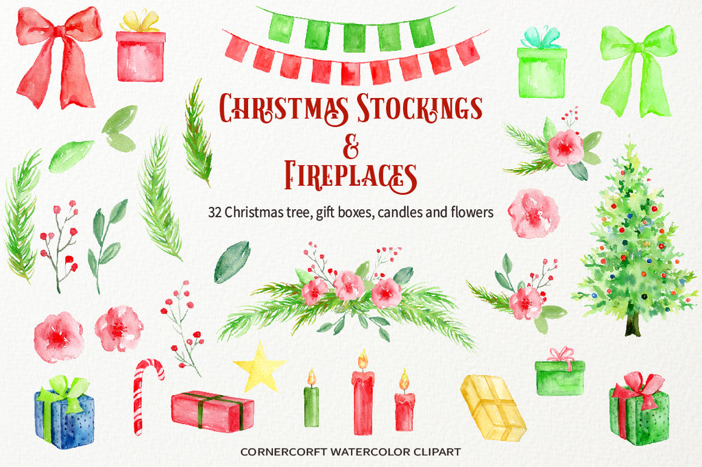watercolor bunting, ribbon, Christmas tree, red candle and green candle, instant download
