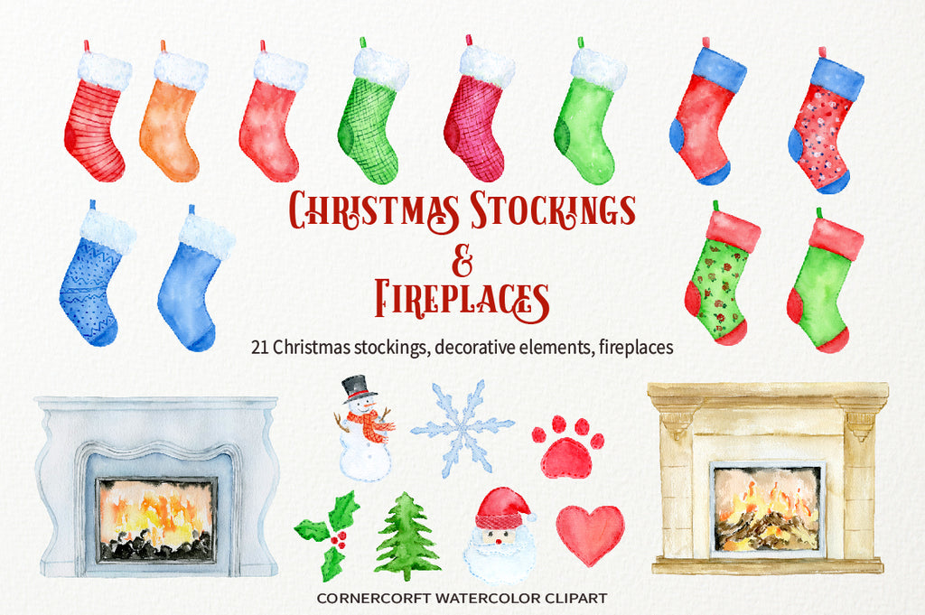 watercolor Christmas stocking, fireplace, christmas tree, Christmas elements, scrapbook