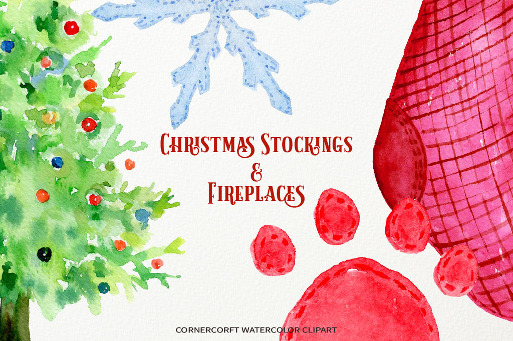 watercolor clipart Christmas stockings and fireplaces instant download