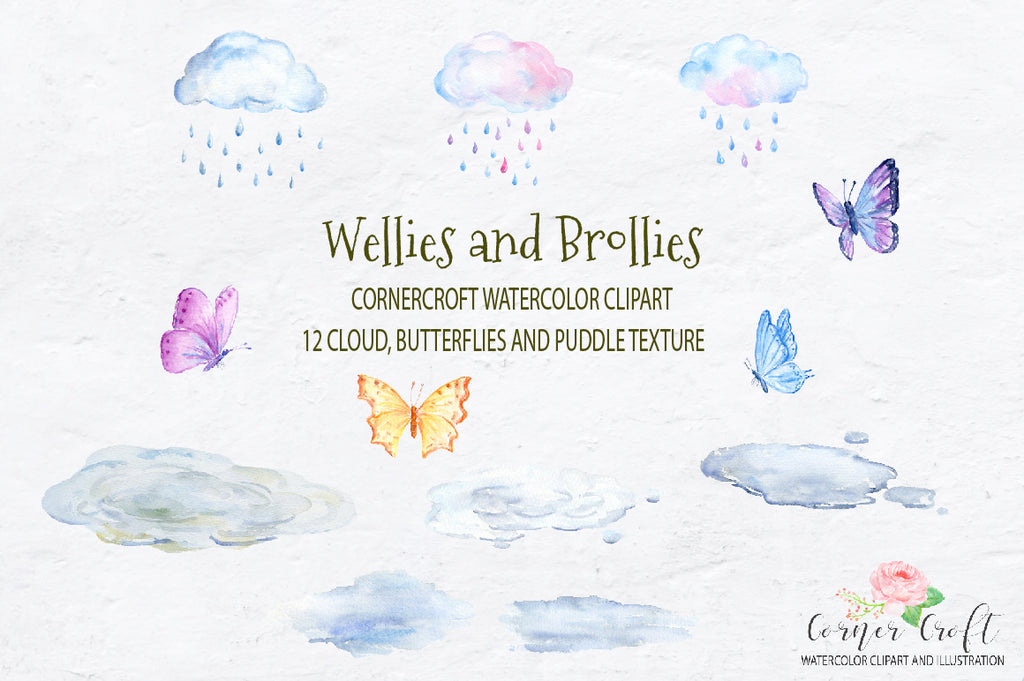 watercolor weather elements, cloud, rain drop, butterfly