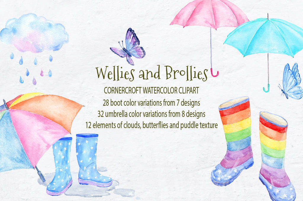 watercolor wellies and brollies, rain boots, umbrellas, cloud, rain drops, rain puddles