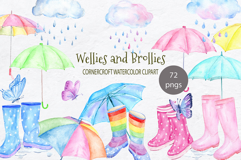 watercolor wellington boots with stars, rainbow pattern, pink, blue, yellow, purple rain boots, umbrella