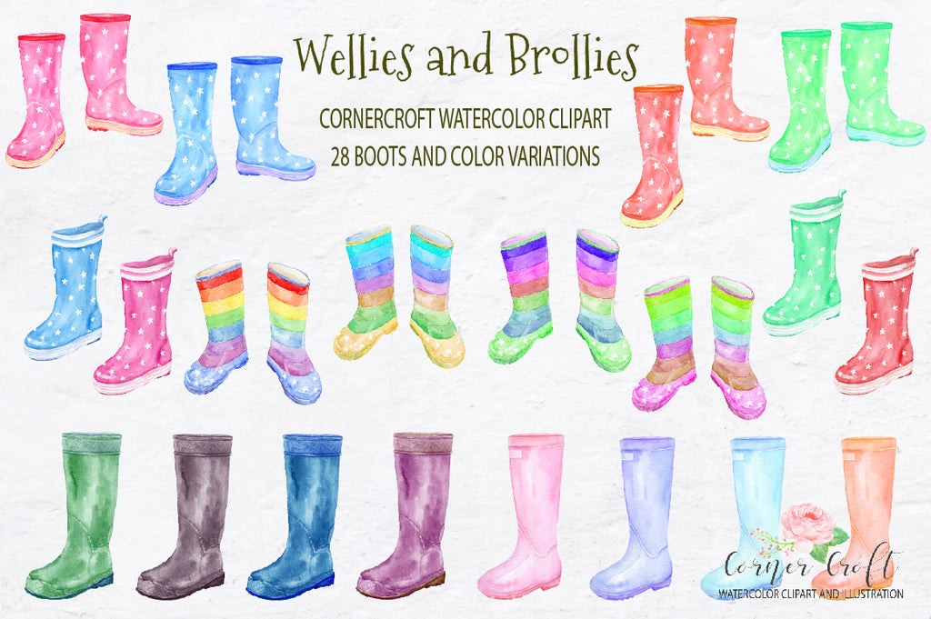 watercolor rubber boots design, rain boot illustration, wellington boots collection