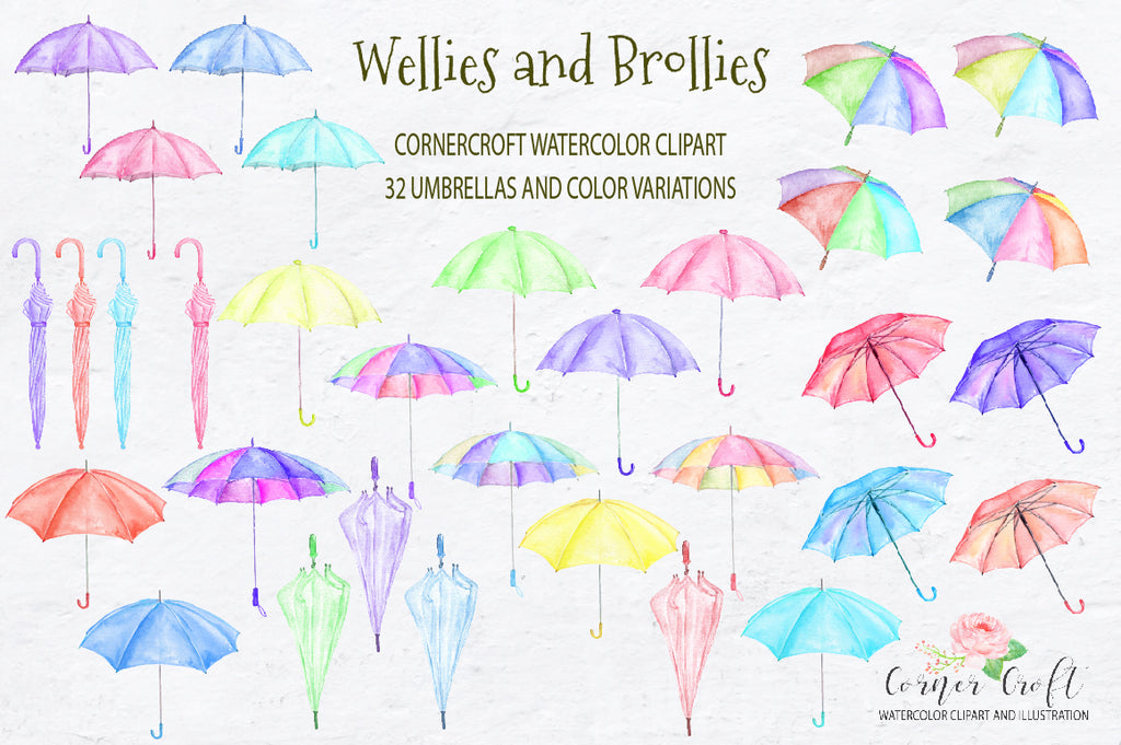 watercolor wellington boots, umbrellas, weather clipart, detailed illustration