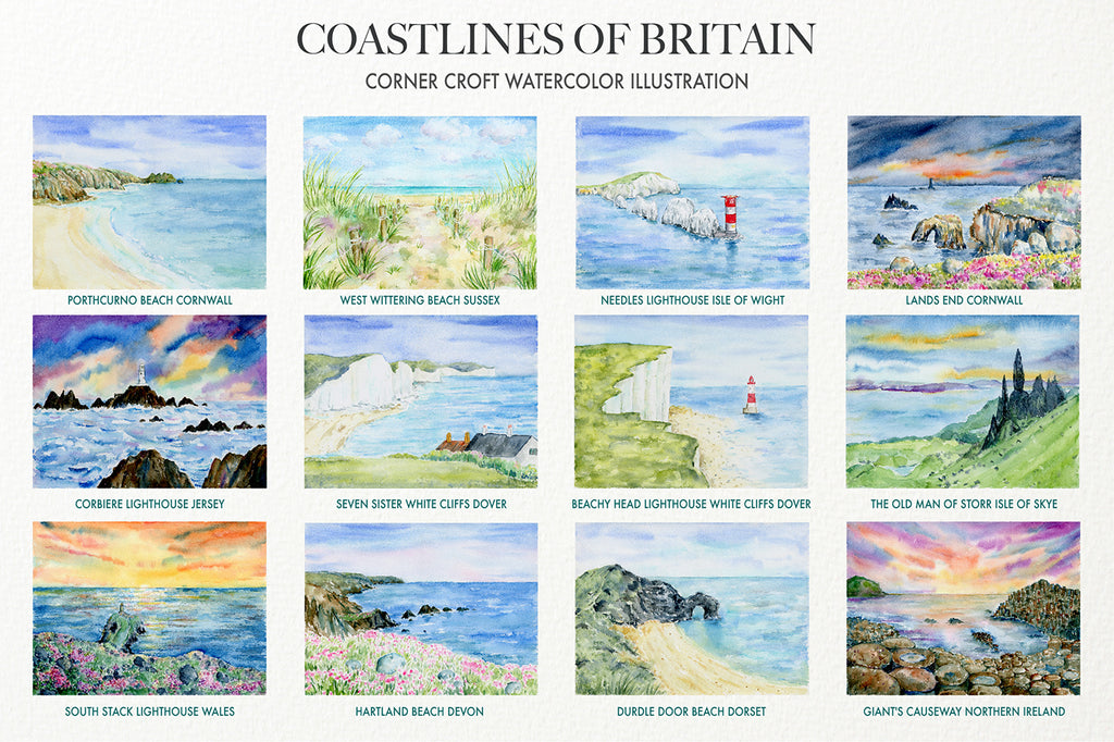 watercolour seascape painting of british coastlines, white cliff of dover, lighthouse around british coasts