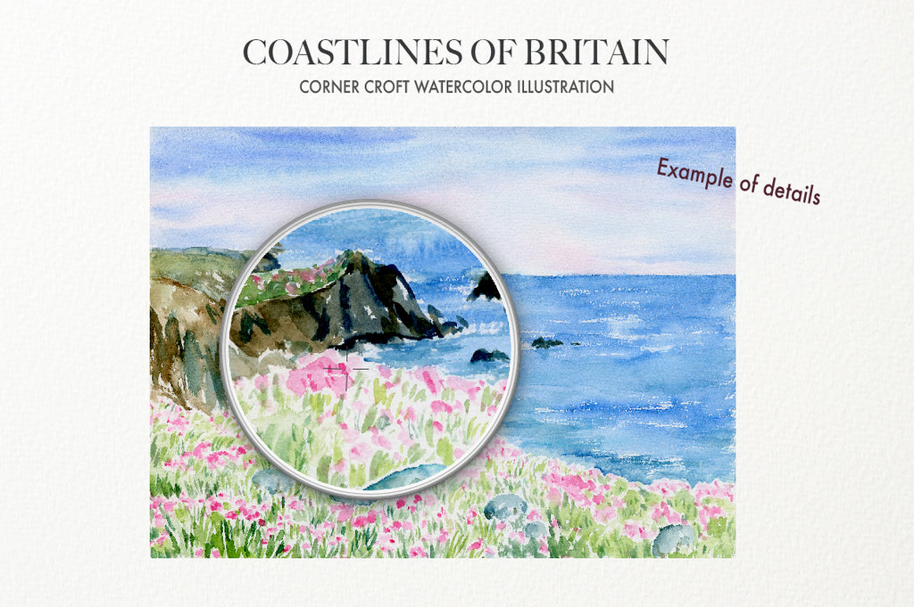 Digital download of watercolor landscape paintings of coastlines of Britain
