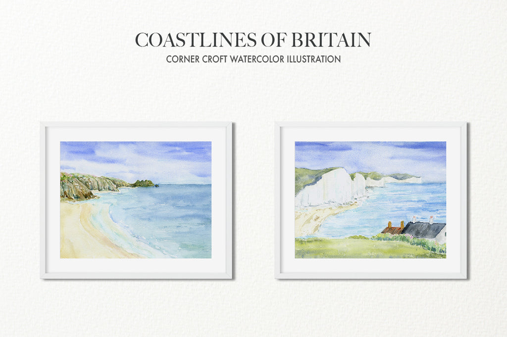 watercolour paintings of British coast paintings, lighthouse, blue sky and blue sea