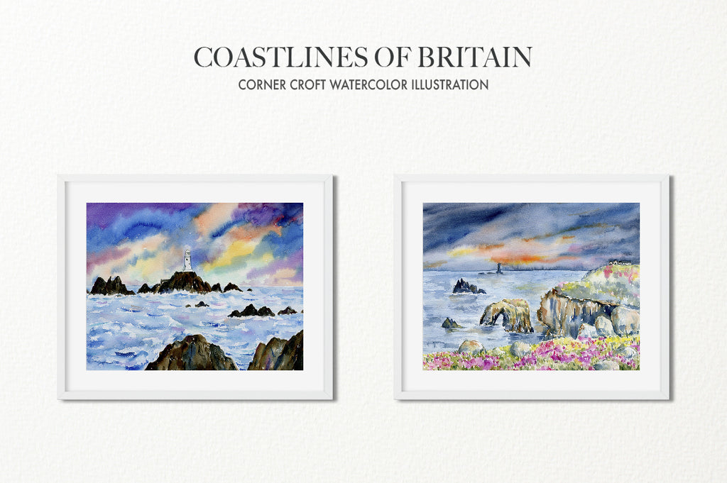 watercolour painting sunset beach, the British Isles, instant download