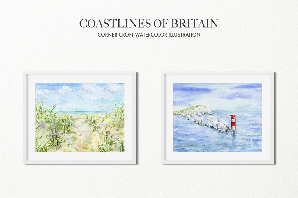 Watercolor seascape paintings of West Wittering beach, Sussex,