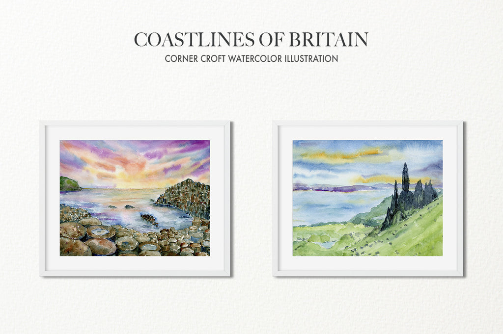 Coastline illustration, watercolor gaint's causeway, the old man of storr, isle of skye, instant download