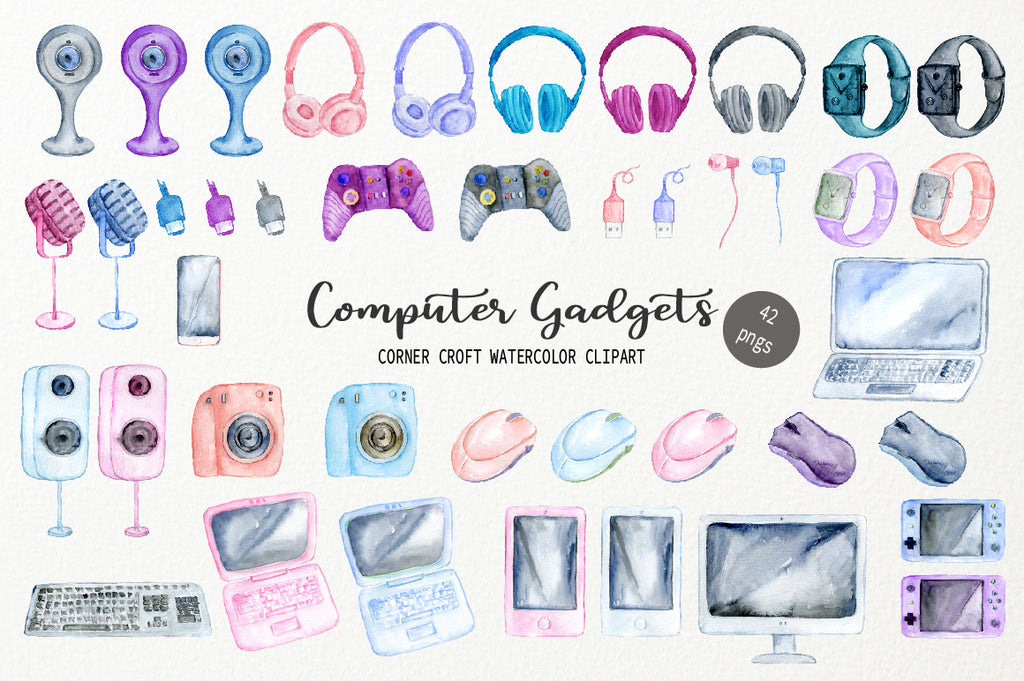 watercolor clipart of computer gadgets, headphone, keyboard, laptop, camera, game console