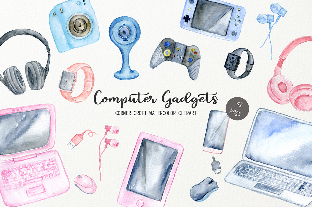 watercolor illusttation of computer, game console, headphone, digital watch, laptop and computer gadgets