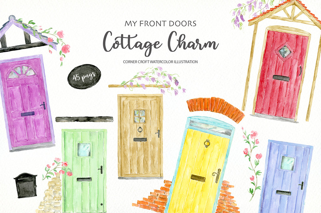 Watercolor front door illustration, tradition cottage style front doors, watercolor clipart