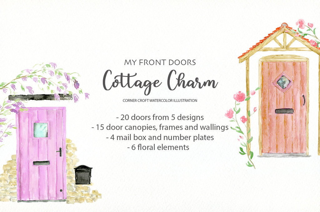 My front door designs watercolor clipart, cottage front doors
