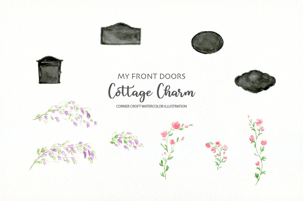 watercolor front door illustration for making personalised print