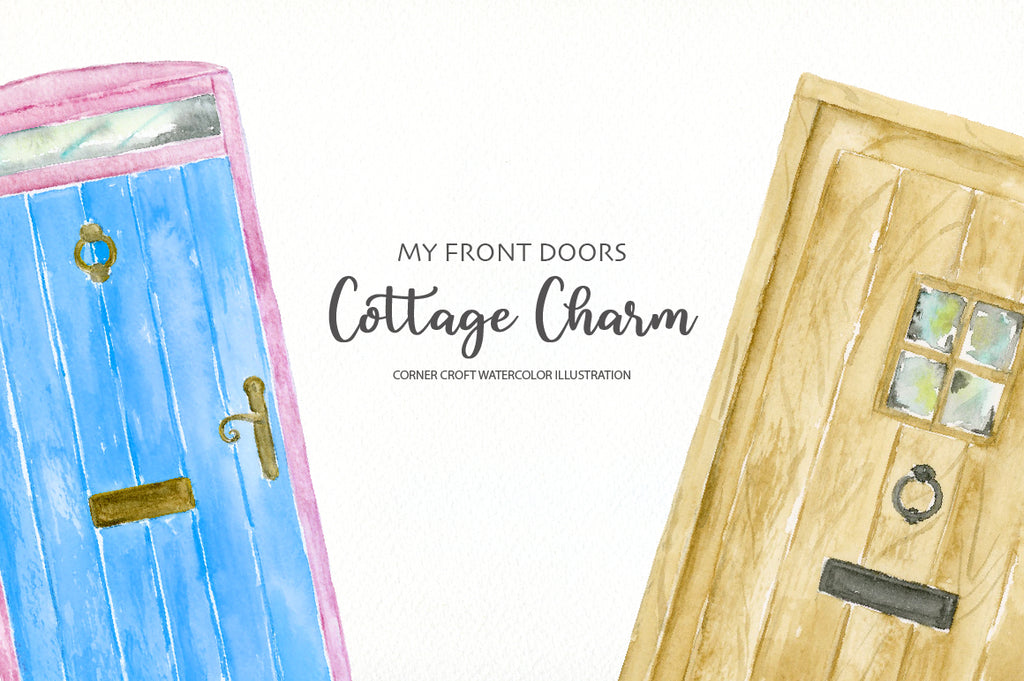 watercolor front door illustration, cottage front doors, making personalised print
