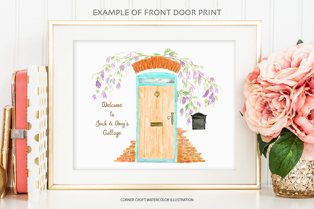 watercolor front door illustration for making personalised print, address label and art print