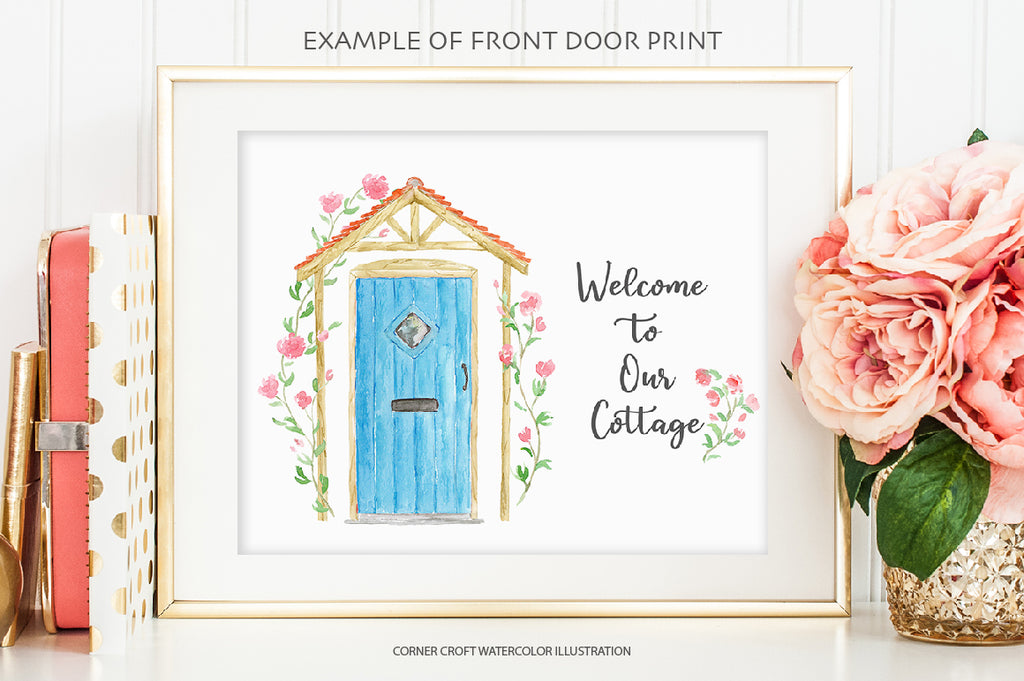 watercolor cottage front door, blue cottage door