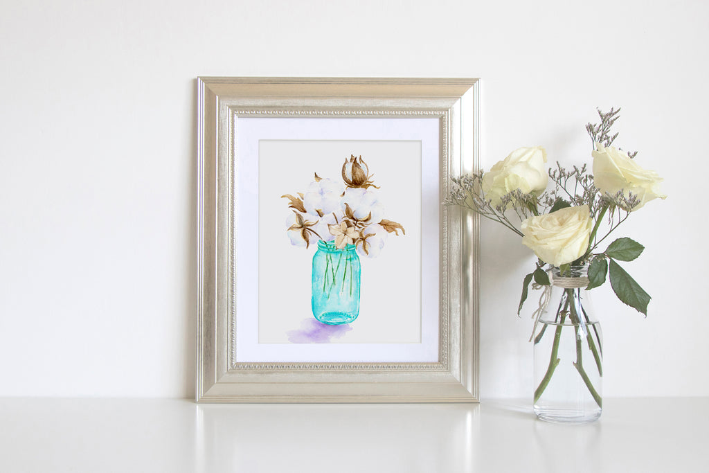 Watercolor Cotton Print, cotton branches in turquoise jar, watercolor cotton branches print