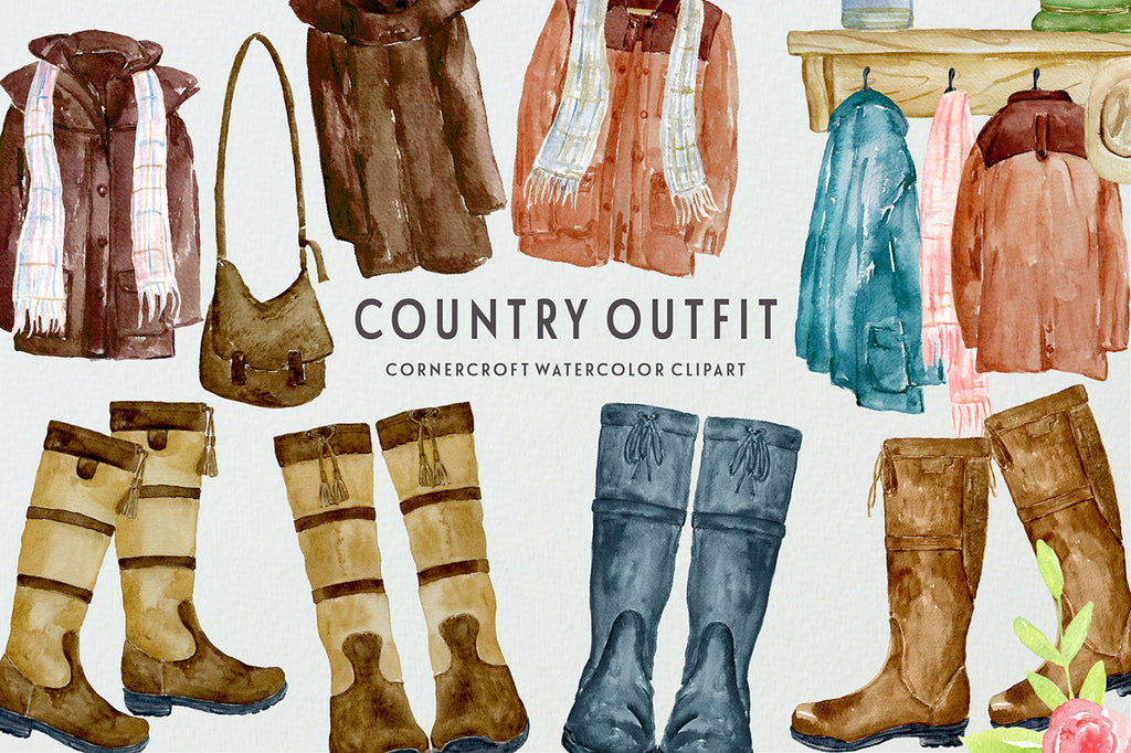 watercolor illustration country coat, country boots, instant download