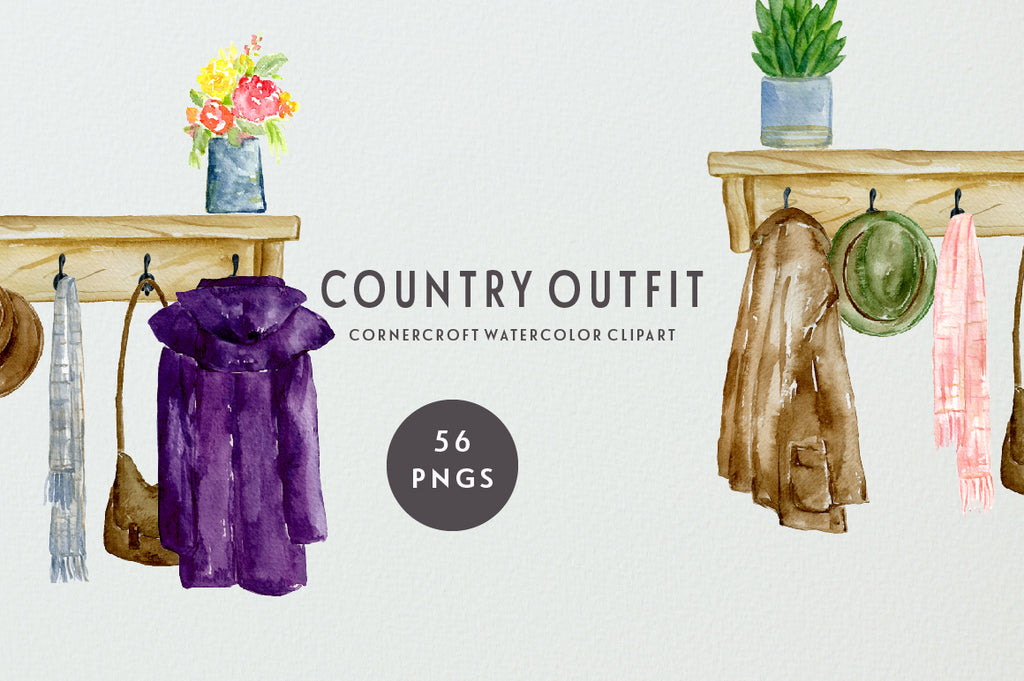 watercolor clipart country coats, country boots, stable boots, brown boots, coat on hooks