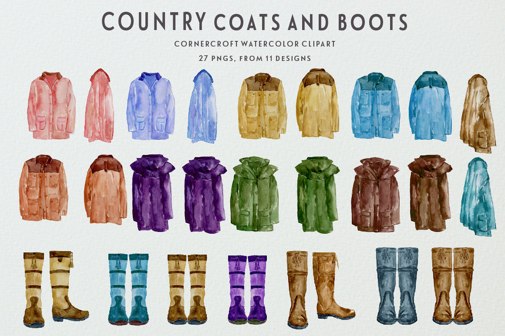country coat outfit illustration, country coats illustration, watercolor clipart