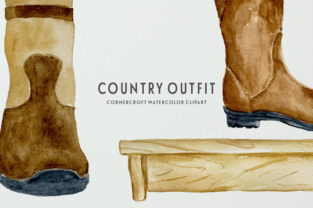 watercolor stable boots clipart, country coat on hooks, watercolor illustration
